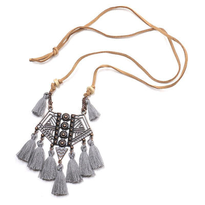 Openwork RetroTassel Geometric Pendant Necklace