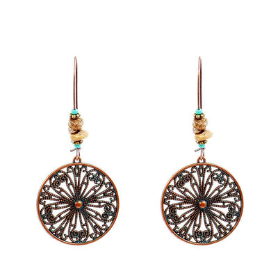Vintage round earrings female creative flower alloy earrings popular earrings