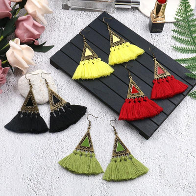 Exaggerated fashion long national wind wool tassel pendant earrings