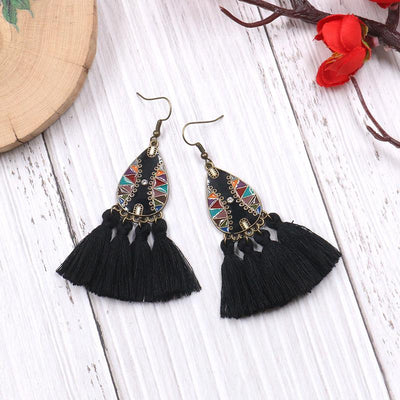 Retro exaggerated bohemian tassel earrings