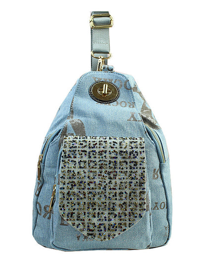 Denim printed diamond backpack