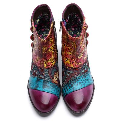 Handmade leather stitching Mongolian ethnic style boots