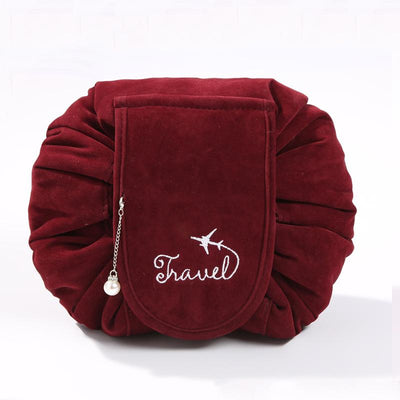 Large Capacity Velvet Drawstring Makeup Bags Travel Cosmetic Organizer