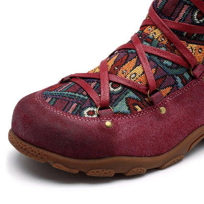 Outdoor leather comfortable flat women's boots