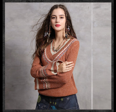 Fashion sexy wool flare sleeve pullover V-neck Vintage embroidered sweaters