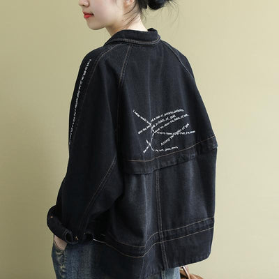 Buykud Casual Turn-down Collar Embroidered Letters Denim Coat