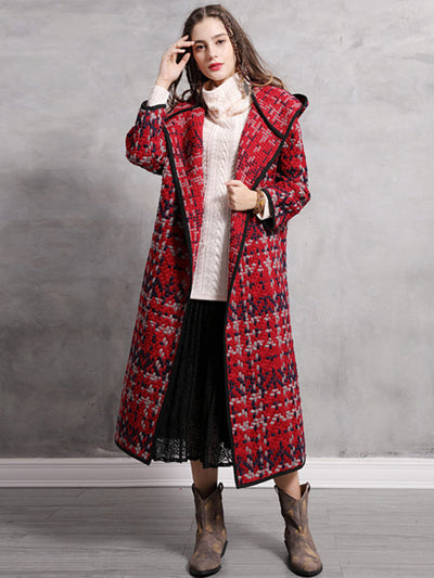 Vintage Thicken Wool Blends Hooded Long Sleeve Wide-waisted Wool Coats