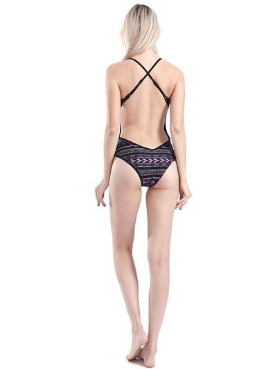 Backless Stripes One-piece Swimwear