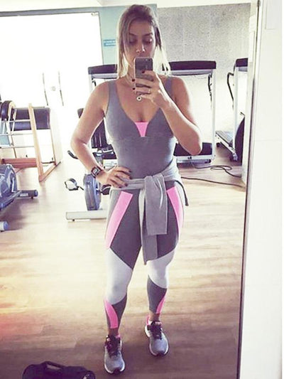 Color Block Cross Strappy Sports Jumpsuits