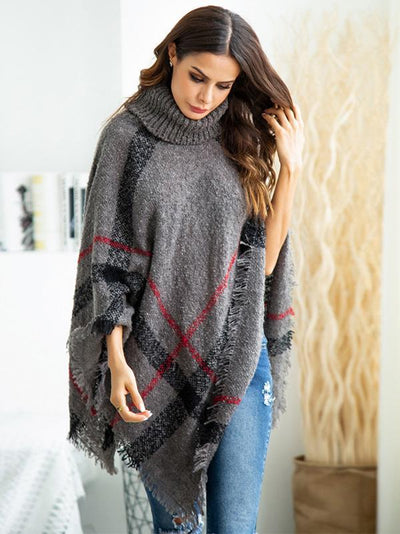 High-neck Batwing Sleeves Tassels Sweater Tops