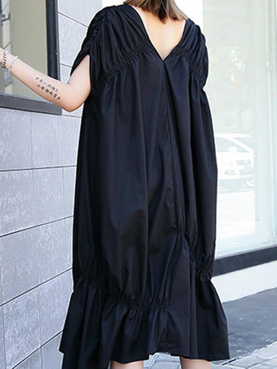 Black Folded Designed Long Dress