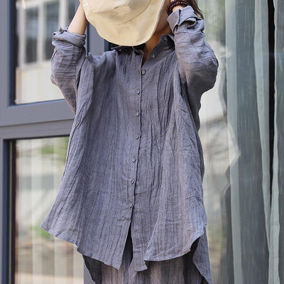 Asymmetrical Loose Casual Linen Button Shirt