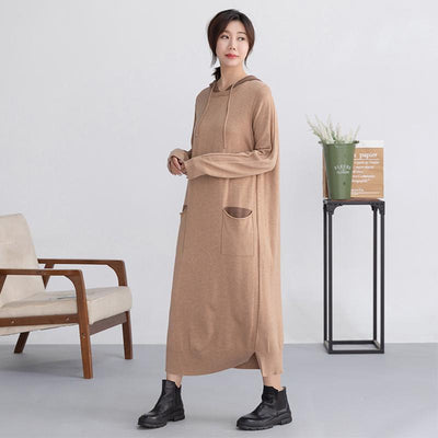 Autumn Pure Color Soft Comfortable Straight Dress