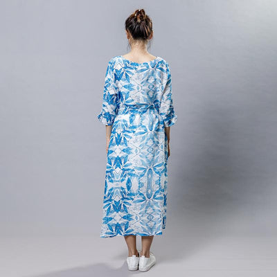 Blue Plant Printed Elegant Dress With Belt