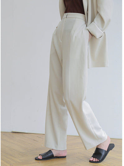 CASUAL SOLID EMPIRE WIDE LEG PANTS