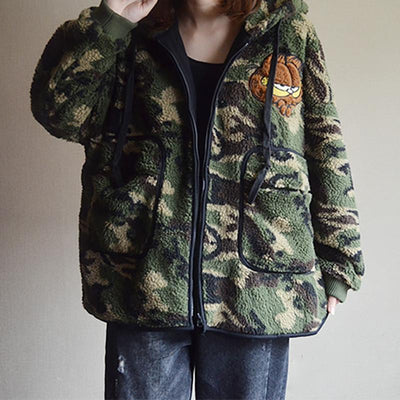 Camouflage Zipper Large Pocket Lambswool Coat