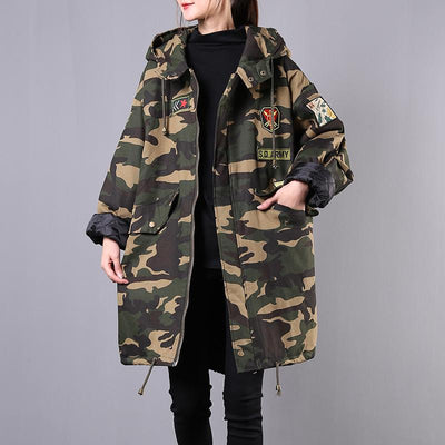 Casual Camouflage Patchwork Hooded Coat
