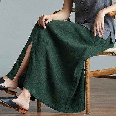 Casual Comfortable Split Hem Plus Size Skirt