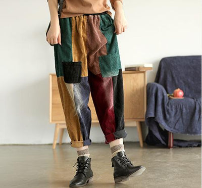 Casual Corduroy Colorful Stitching Harem Pants