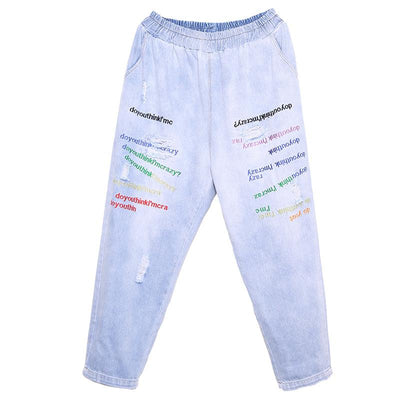 Casual Letter Embroidery Hole Jeans For Women