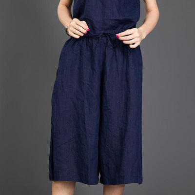 Casual Loose Dark Blue Two Piece Suit