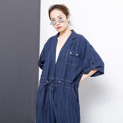 Casual Loose Stripe Drawstring Blue Overall