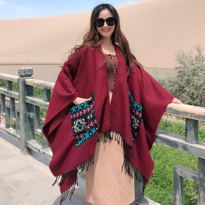 Casual Patch Pocket Jacquard Warm Shawl