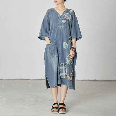 Casual Patchwork Burr Split Denim Dress