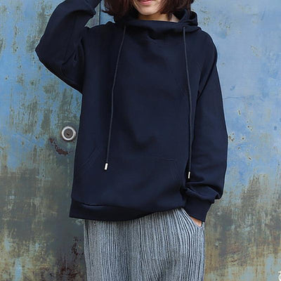 Casual Pure Color Thick Cotton Hoodie