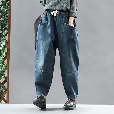 Casual Pure Color Velvet Harem Jeans