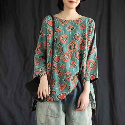 Summer Casual Retro Printed Pullover Linen T-Shirt