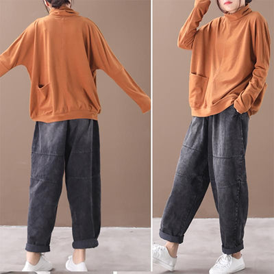 Casual Single Pocket Turtleneck Bottoming Shirt