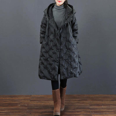 Casual Solid Color Loose Hooded Down Coat
