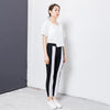 Casual Spliced Elastic Waist Women Pants