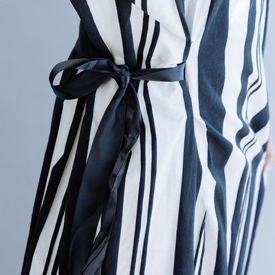 Casual Striped Cotton Linen Drawstring Dress