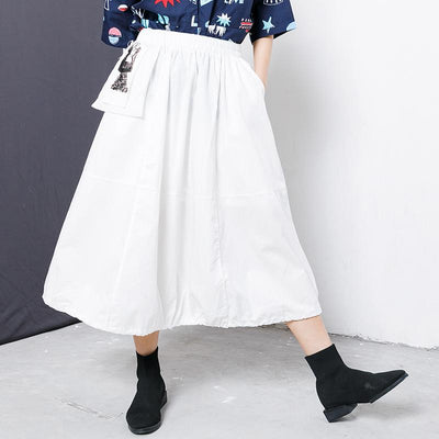 Character Patchwork Spliced Solid Color Skirt