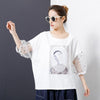 Character Printed Sleeve Lace Stitching T-Shirt