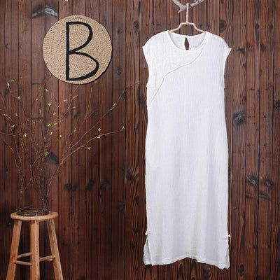 Chinese Style Split Sleeveless White Dress