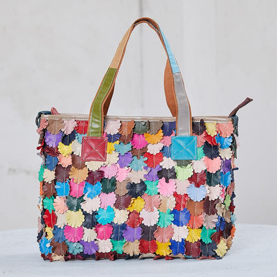 Colored Leather Floral Decoration Fashion Tote Bag