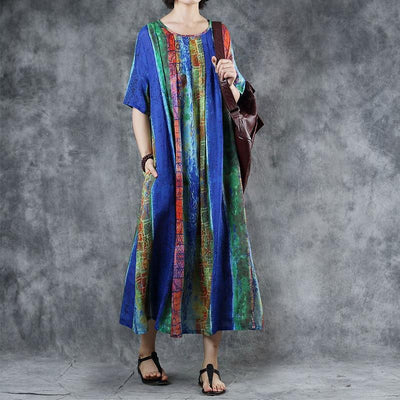 Colored Striped Print Elegant Comfortable Dress