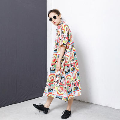 Colorful Graffiti Lacing Split Hem Loose Dress