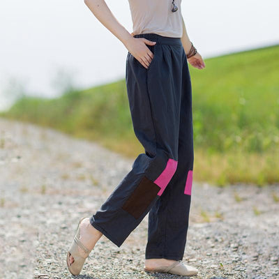 Contrast Color Patchwork Casual Straight Pants