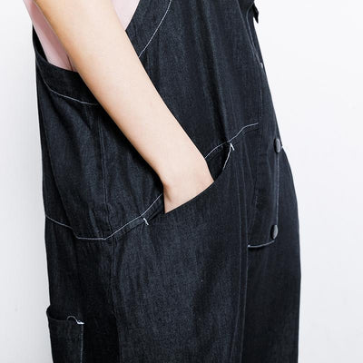 Cotton Casual Button Pockets Wide Leg Overalls