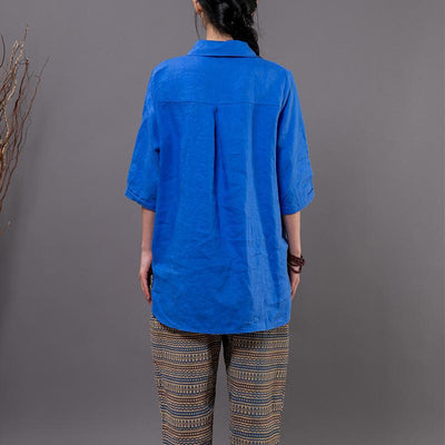 Cotton Linen Long Sleeve Solid Blouse