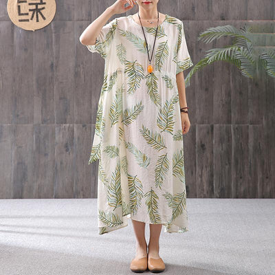 Cotton Linen Print Round Neck Dress