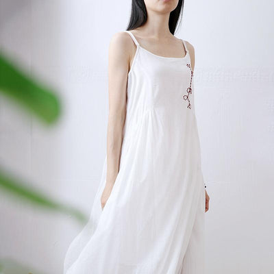 Cotton Linen Round Neck Asymmetrical Slip Dress