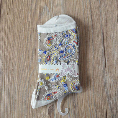 Cute Jacquard Breathable Socks - 5 Pairs