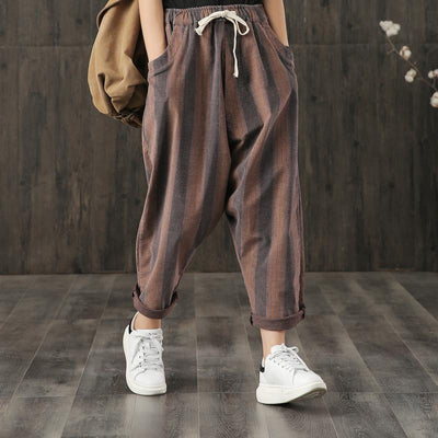 Elastic Waist Striped Casual Harem Pants