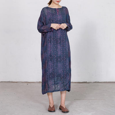 Elegant Loose Long Sleeve Ramie Dress