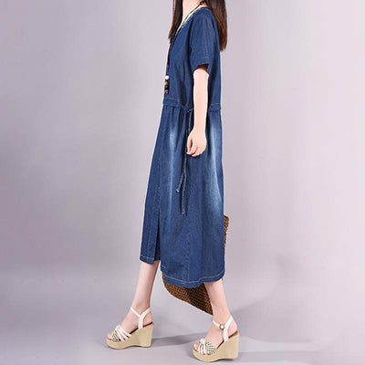 Embroidered Plant Casual Adjustable Waist Denim Dress